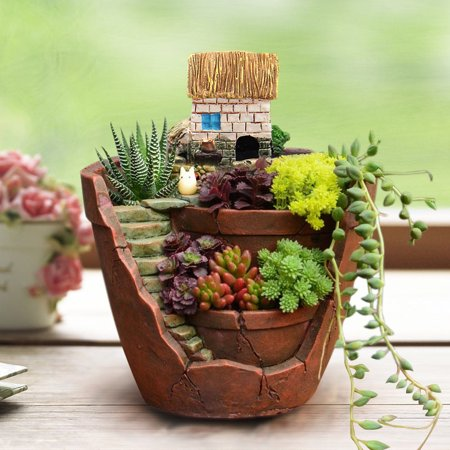 2PCS Flower Basket Planter Garden Potted Plant Succulents Landscape Pots Creative Garden House Resin Decoration