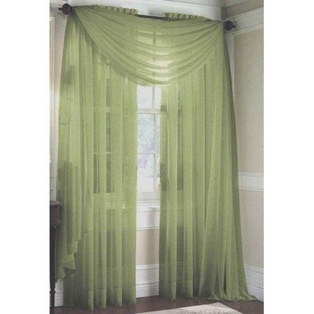 LuxuryDiscounts Beautiful Elegant Solid Sage Green Sheer Scarf Valance Topper 40