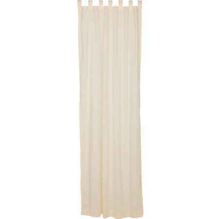 - Creme White Farmhouse Curtains Willow Tab Top Cotton Tie Back(s) Embroidered Sheer Solid Color 108x50 Panel