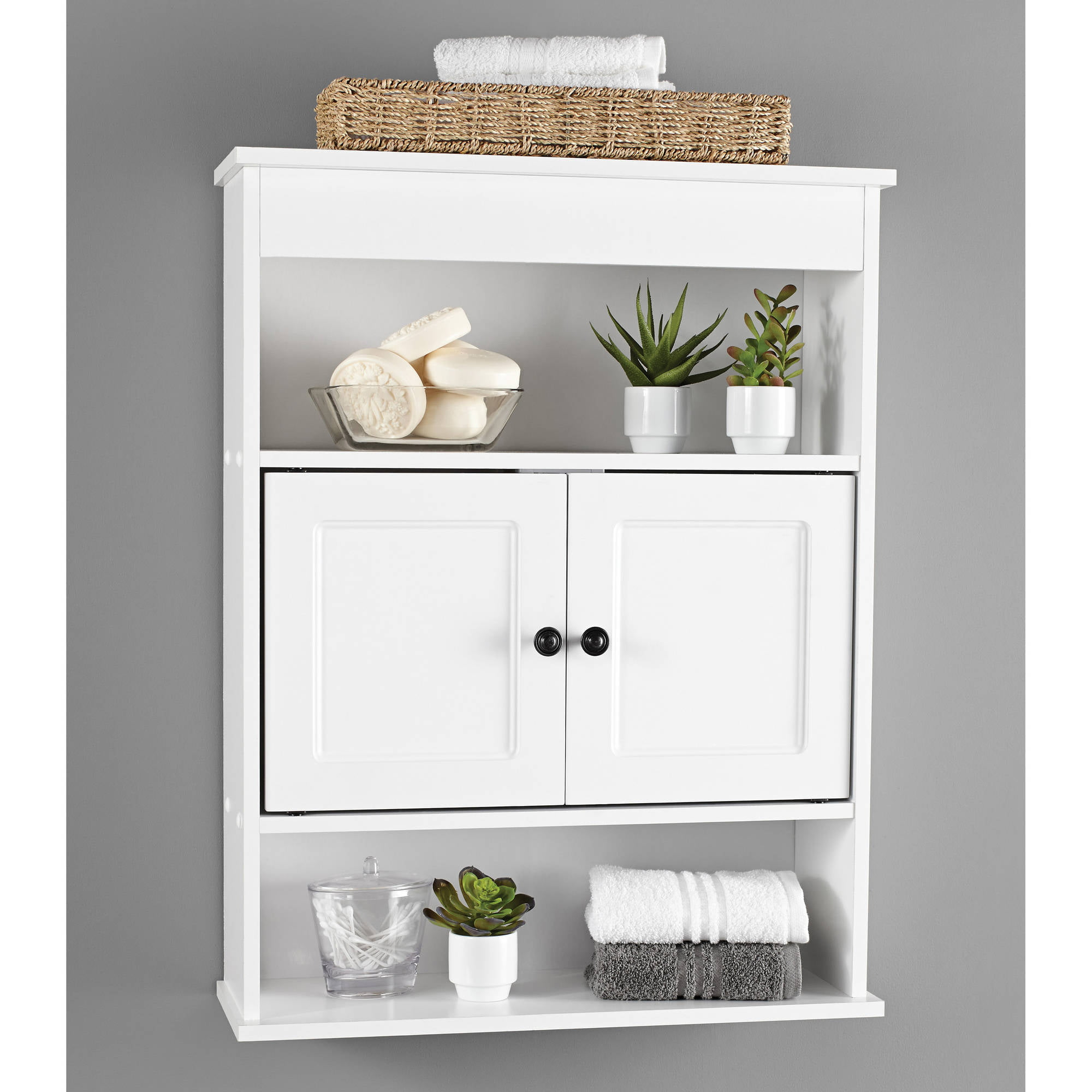 Cabinet wall bathroom storage white shelf organizer over - Wall mounted bathroom storage units ...