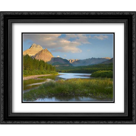 Mount Wilbur at Fishercap Lake, Glacier National Park, Montana 2x Matted 24x20 Black Ornate Framed Art Print by Fitzharris,