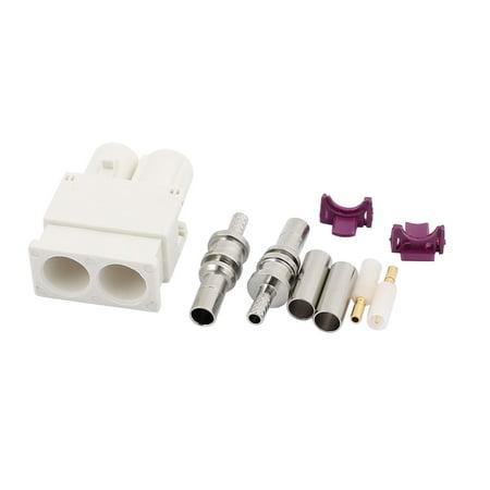 Adaptateur Blanc FAKRA-B 2-male Connecteur 0-6GHz RF pour cable RG174 - image 2 de 2
