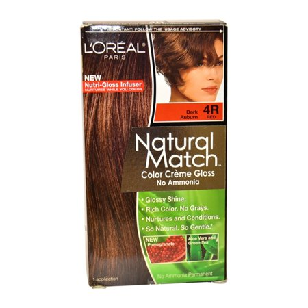 L'Oreal Natural Match No-Ammonia Color-Calibrated Creme, Dark Auburn, 4R Red - Is Auburn Red