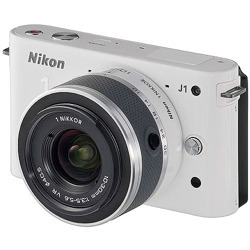 "Nikon 1 J1 White 10.1MP Digital Camera w/ 3x Optical Zoom, 10-30mm VR Lens, 3"" LCD, HD Movie Recording"