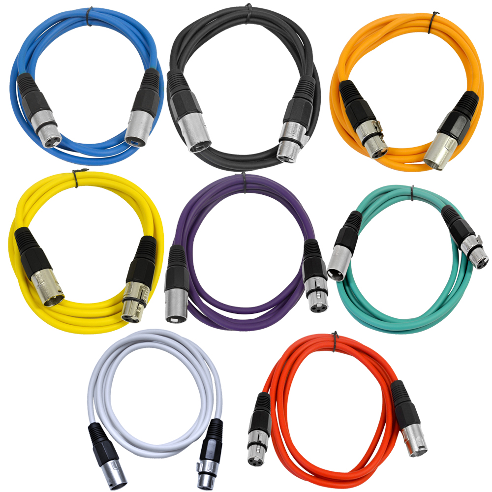Seismic Audio  - 8 Pack of Colored 6 Foot XLR Patch Cables - 6' Mic Patch Cords Multi-Colors - SAXLX-6-Multi