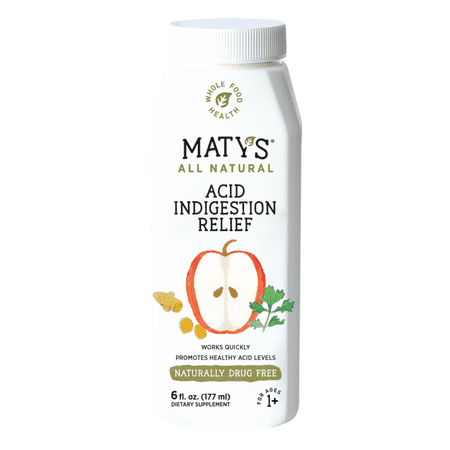 Maty's All Natural Acid Indigestion Relief Syrup, Healthy Ingredients To Ease Symptoms of Acid Indigestion Heartburn GERD and Acid Reflux, Promotes Healthy Stomach Acid Levels, 6 Oz