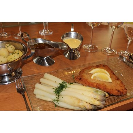 Peel-n-Stick Poster of Asparagus Potatoes Asparagus Dish Butter Schnitzel Poster 24x16 Adhesive Sticker Poster - Asparagus Dish