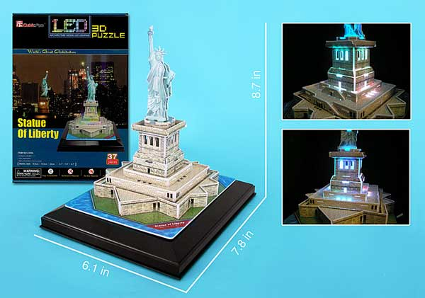 Statue Of Liberty 3D Puzzle With Base & Lights by