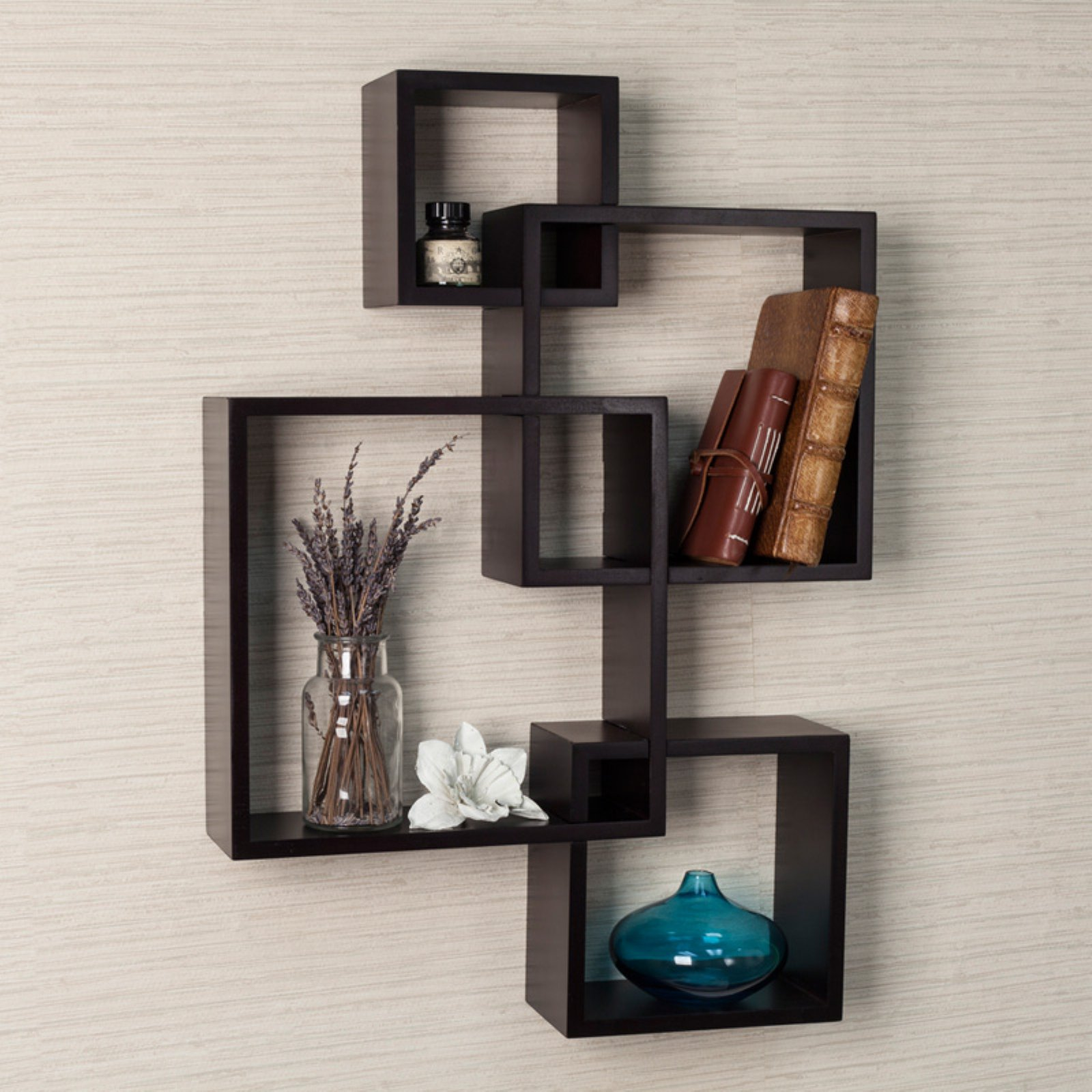 Danya B Espresso Intersecting Cube Shelves
