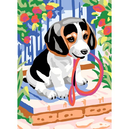 Collection D'Art Needlepoint Printed Tapestry Canvas, 30cm x 40cm, Puppy