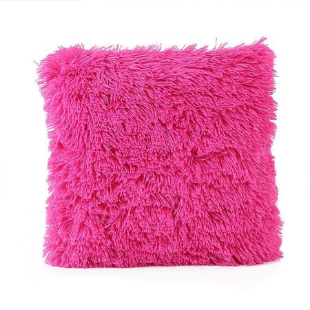 Wendana Faux Fur Decorative Throw Pillow Cover,Pink Decoration Pillow Case For Sofa,Decorative Super Soft Plush Mongolian Faux Fur Living Room Throw Pillow Cover Cushion Case (Pink) ()