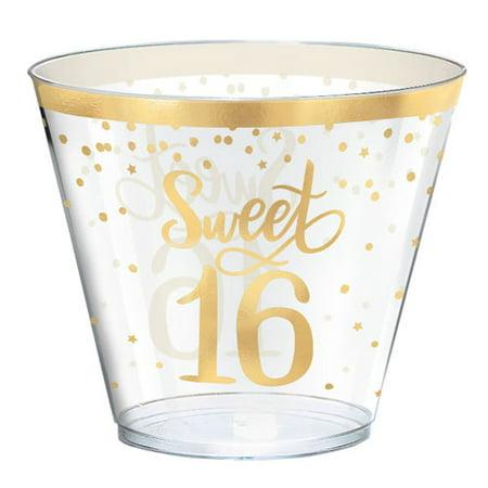 - Sweet 16 'Blush' 9oz Plastic Tumblers (30ct)