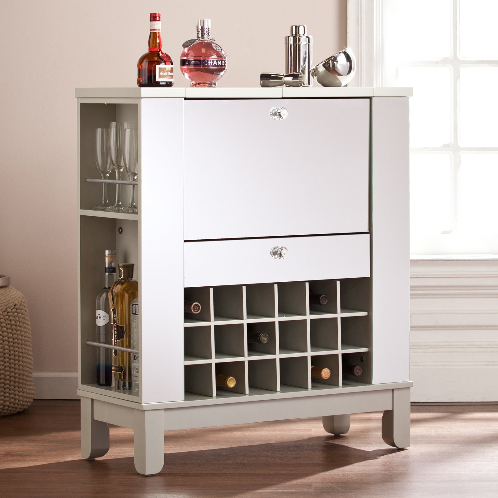 Southern Enterprises Mirage Mirrored Fold-Out Wine/Bar Cabinet
