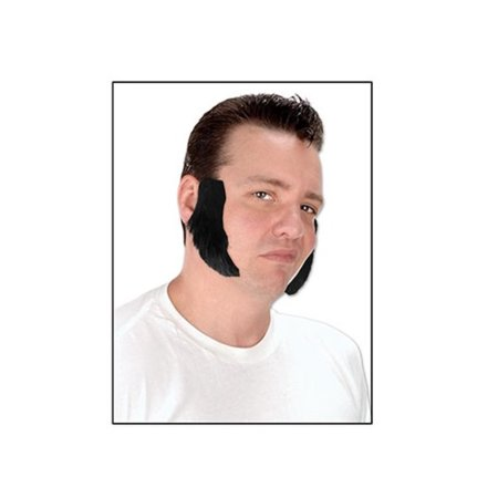 Pack of 12 Jet Black Mutton Chop Sideburn Costume Accessories 4.5