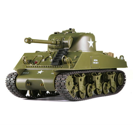 Remote Control 2.4Ghz 1/30 Scale US M4A3 Sherman RC Infrared Battle Tank w/Sound and Lights RC