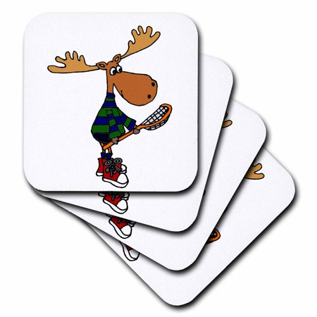 3dRose Funny Moose with LaCrosse Stick Art - Soft Coasters, set of 4