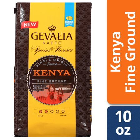 Gevalia Kaffe Kenya Arabica Bean Special Reserve Fine Ground Coffee, Caffeinated, 10 oz Bag