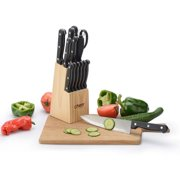 Cheer Collection 13-Piece Stainless Steel Knife Set with Wooden Block