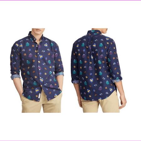 Polo Ralph Lauren Classic-Fit Print Oxford Button-Down Shirt Rugby Blue L