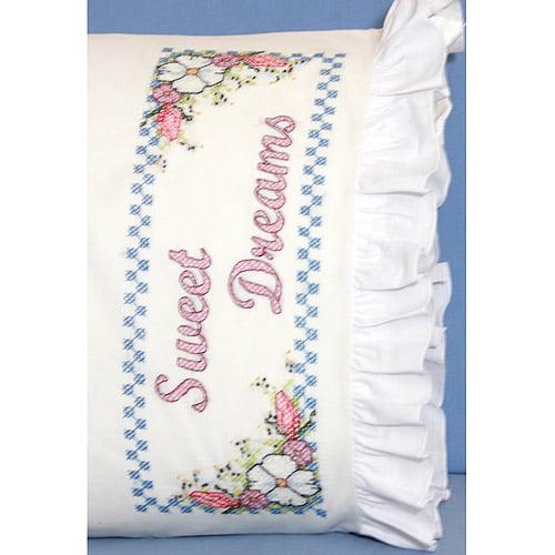 "Fairway Needlecraft Sweet Dreams Stamped Lace Edge Pillowcase Pair, 30"" x 20"""