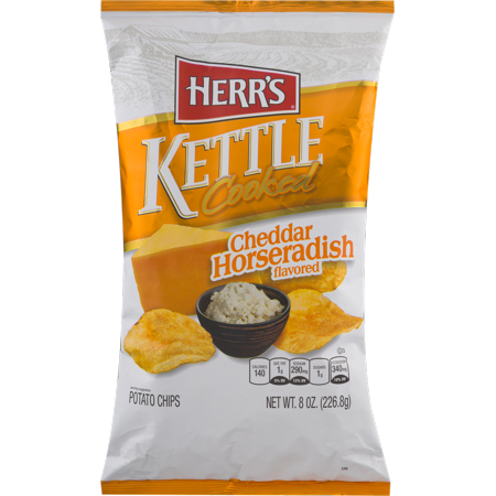 Herr's Kettle Cooked Cheddar Horseradish Potato Chips 7.5 oz. (3 Bags) (No Cook Halloween Snacks)