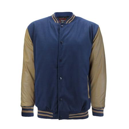 Men's Premium Classic Snap Button Vintage Baseball Letterman Varsity Jacket (Navy Khaki, L)