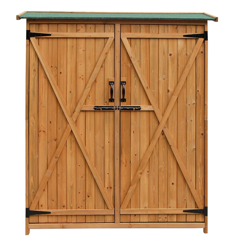 """Zimtown 64"""" Wooden Outdoor Garden Storage Shed with Fir Wood Medium Storage Shed Lockable Storage Unit with Double Doors, Natural Color"""
