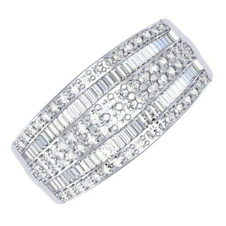 1.10 Carat (ctw) 14K Gold Round & Baguette Cut Diamond Ladies Anniversary Wedding Band 1 CT