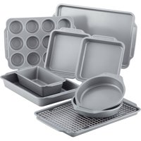 Farberware 10-Piece Nonstick Bakeware Set with Cooling Rack, Grey