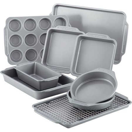 Farberware Nonstick Bakeware 10-Piece Set with Cooling Rack, Grey