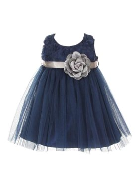 c73646e5befd Product Image Baby Girls Navy Chiffon Rosebud Applique Bodice Tulle Flower  Girl Dress 24M. My Best Kids