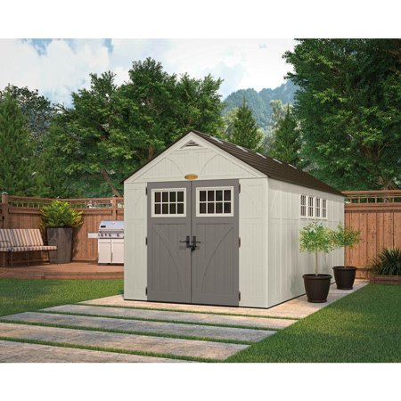 Suncast 883 Cubic Feet Tremont Durable Resin Outdoor Storage Shed with Windows