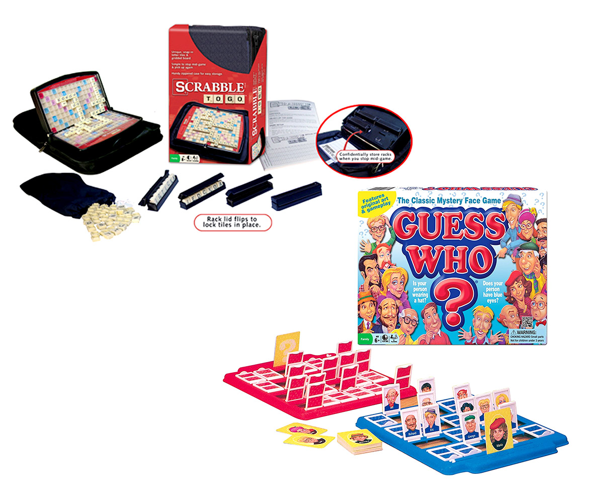 Family Board Game and Portable Family Game Set Guess Who Board Game and Scrabble to Go Board Game Kit by Mozlly