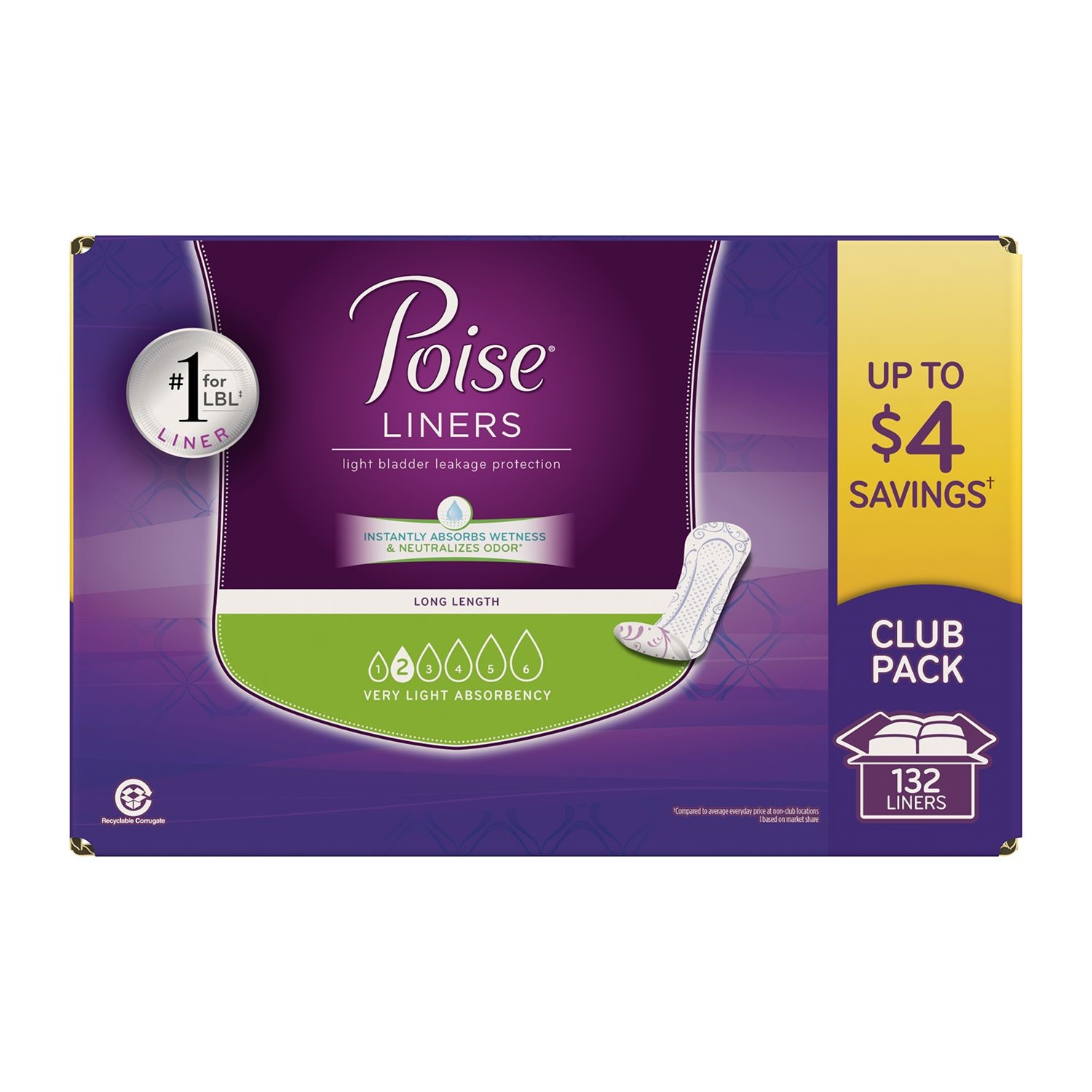 Poise Liners, Very Light, 132 Ct