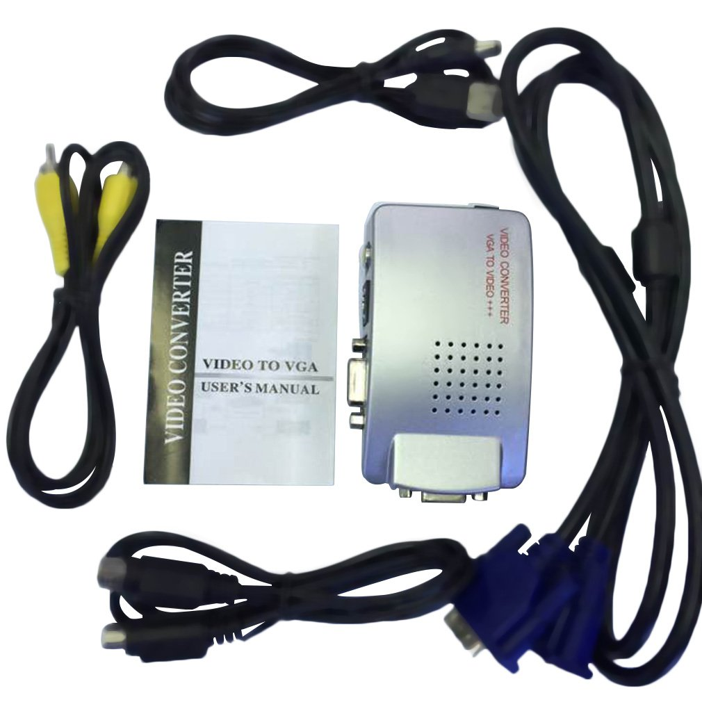 LESHP PC Laptop VGA to TV Monitor S-video Signal Adapter Converter Switch Box Silver