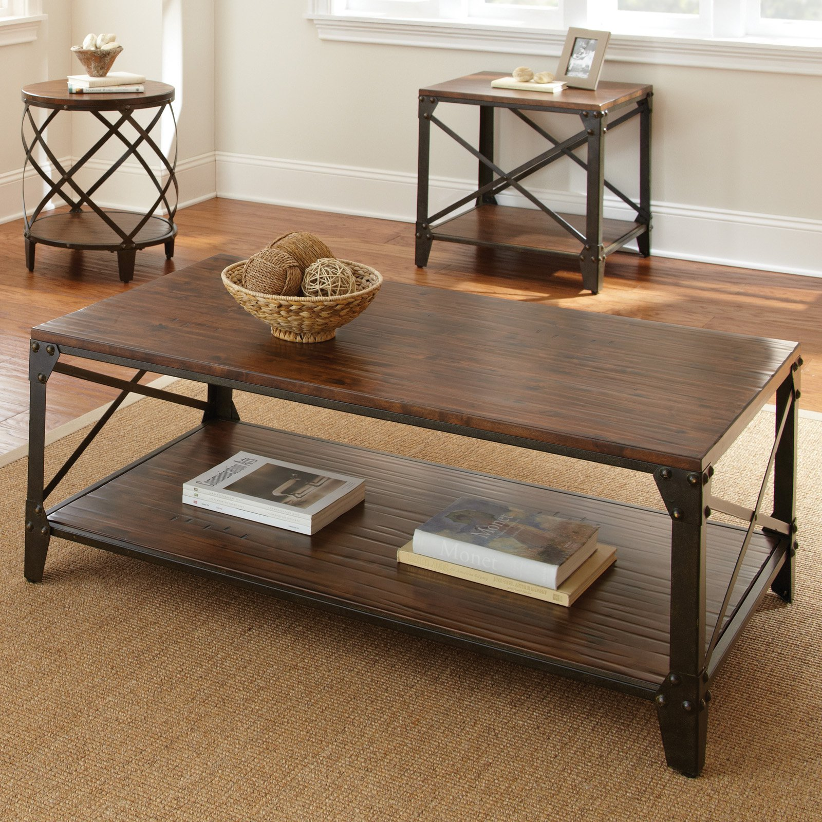Steve Silver Winston Rectangle Distressed Tobacco Wood and Metal Coffee Table