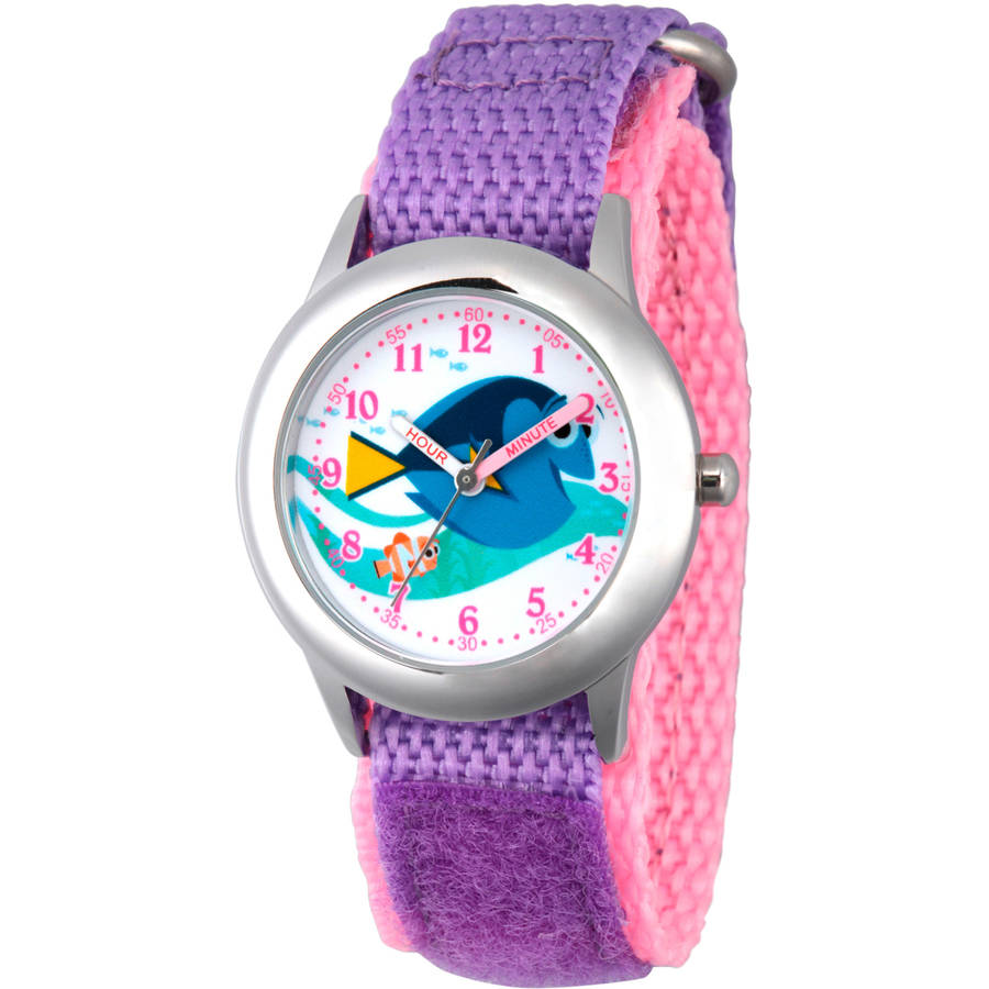 Disney Finding Dory Girls' Stainless Steel Time Teacher Watch, Purple Bezel, Purple Hook and Loop Nylon Strap with Pink Backing