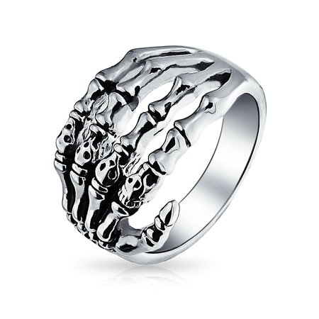 Goth Biker Punk Rocker Skelton Hand Wrap Band Ring For Men For Teen Oxidized Silver Tone Stainless Steel