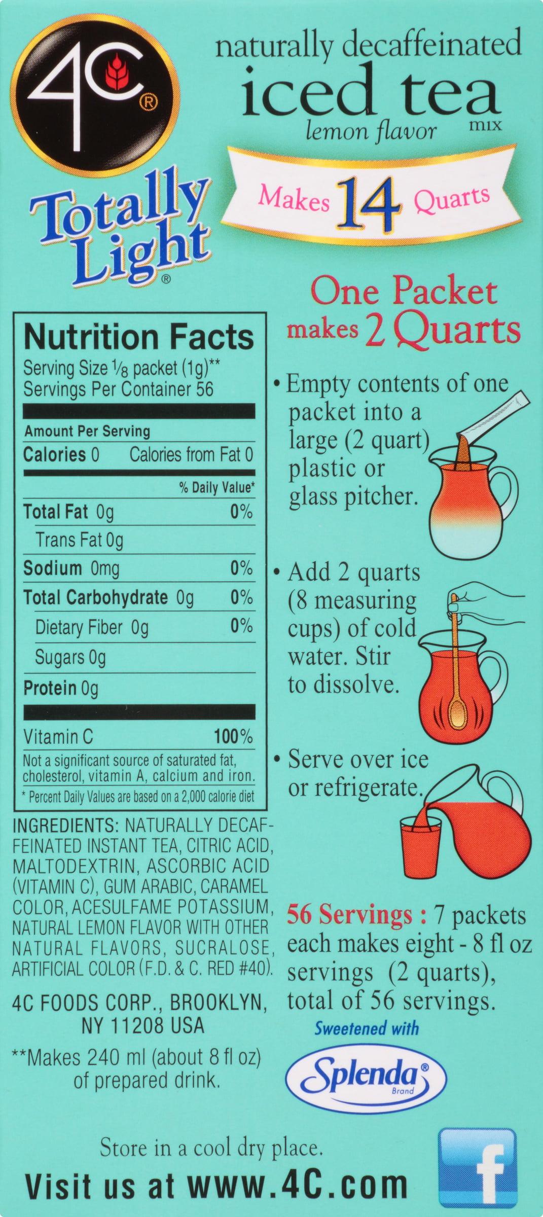 4C® Totally Light® Sugar Free Decaffeinated Lemon Iced Tea Mix 7 ct ...