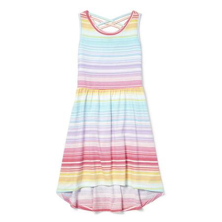 Cross Back Rainbow Stripe High-Low Dress (Little Girls & Big Girls)