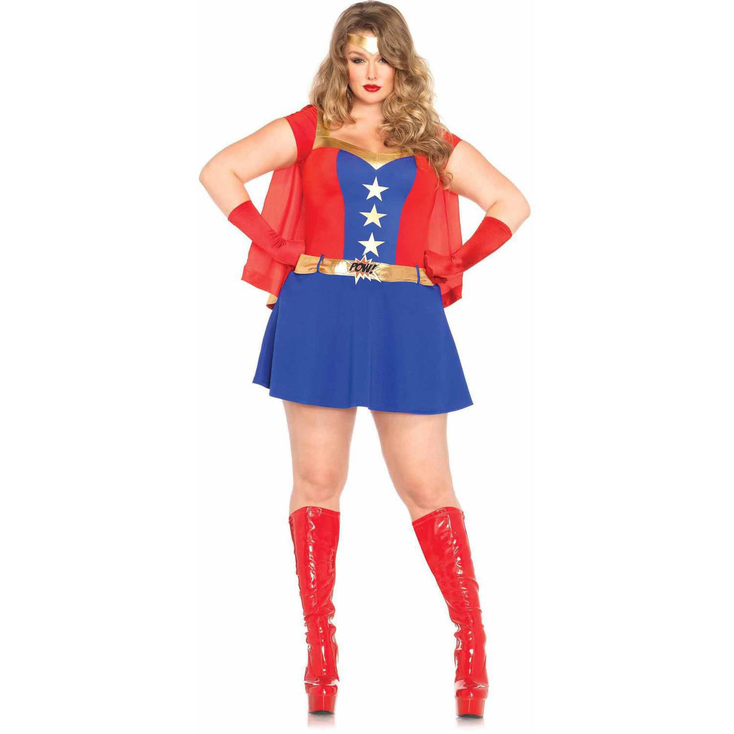 leg avenue plus size 3 piece comic book girl adult halloween costume walmartcom