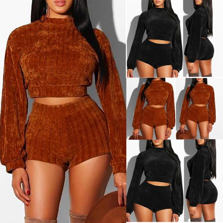 Women Crop Top Pants Set Two Piece Outfits Jumpsuit Playsuit Casual Clothes