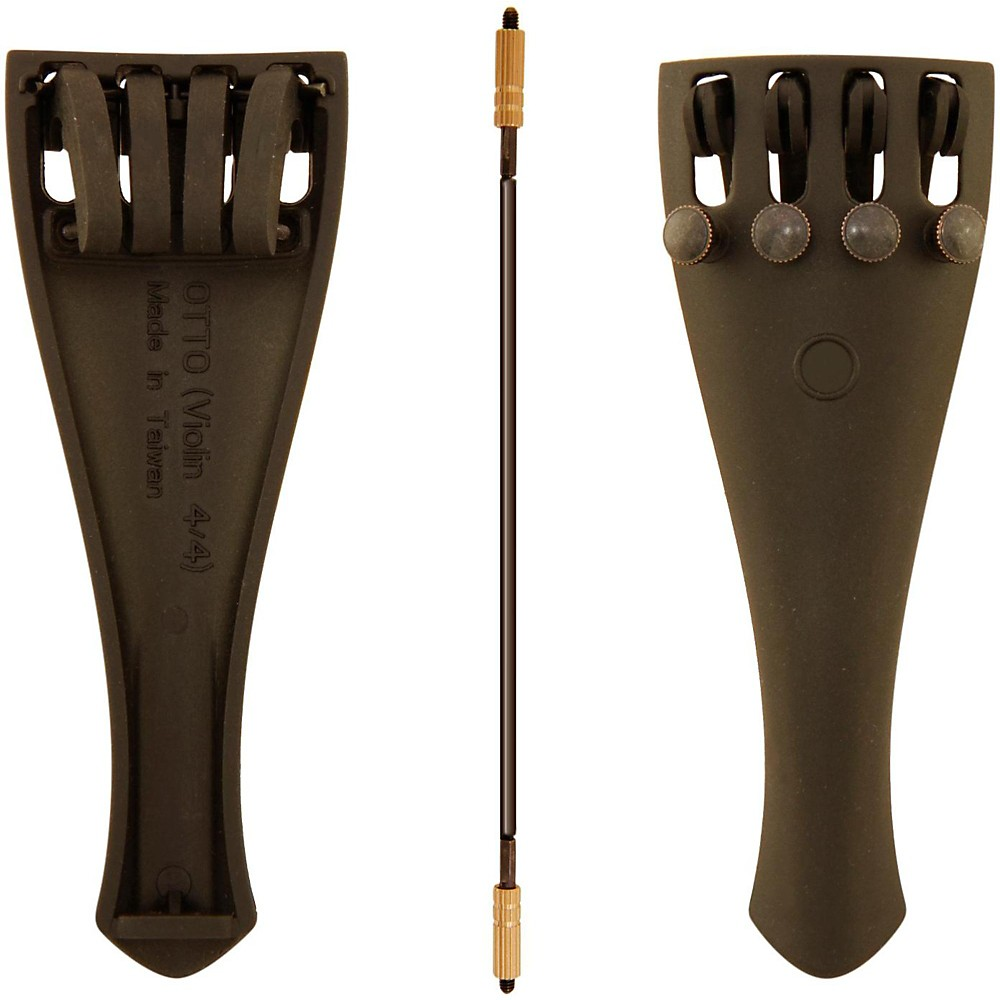 Otto Musica Carbon Composite Violin Tailpiece with Four Built-In Fine Tuners and Braided... by Otto Musica
