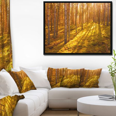 - DESIGN ART Designart 'Beautiful Sunrays in Thick Forest' Modern Forest Framed Canvas Art