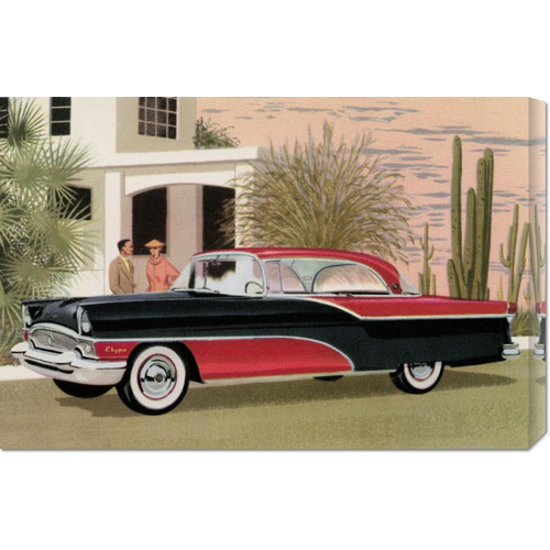 Global Gallery 'Packard Clipper at the Camelback Inn' by Retro Travel Painting Print on Wrapped Canvas