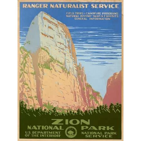 Zion National Park Ca 1938 Canvas Art   Ranger Naturalist Service  18 X 24