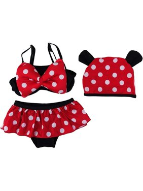 4a4d20e50a11f Product Image Wenchoice Little Girls Black Red Polka Dot Mickey Hat Bikini  Swimsuit