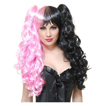 Womens Deluxe Neon Pink Black Two Faced Anime Princess Removable Ponytail Wig - Blond Ponytail Wig