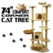 XtremepowerUS 74`` Condo Cat Tree Scratching Posts Cat Hammock House