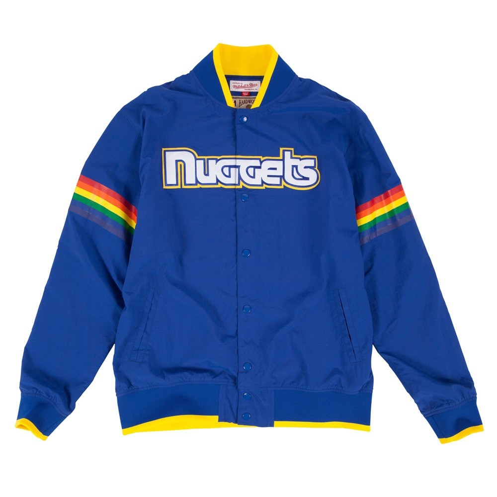 """Denver Nuggets NBA Mitchell & Ness Blue """"Nothing But Net"""" Vintage Warm Up Jacket Jacket For Men by Mitchell & Ness"""